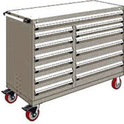 "Rousseau Metal 13 Drawer Mobile Multi-Drawer Cabinet - 60""Wx24""Dx45-1/2""H Light Gray"