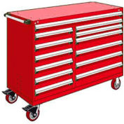 """Rousseau Metal 13 Drawer Mobile Multi-Drawer Cabinet - 60""""Wx24""""Dx45-1/2""""H Red"""