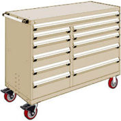 """Rousseau Metal 11 Drawer Mobile Multi-Drawer Cabinet - 60""""Wx24""""Dx45-1/2""""H Beige"""