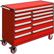 """Rousseau Metal 11 Drawer Mobile Multi-Drawer Cabinet - 60""""Wx24""""Dx45-1/2""""H Red"""