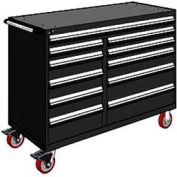 "Rousseau Metal 11 Drawer Mobile Multi-Drawer Cabinet - 60""Wx24""Dx45-1/2""H Black"