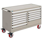 "Rousseau Metal 12 Drawer Mobile Multi-Drawer Cabinet - 60""Wx27""Dx37-1/2""H Light Gray"