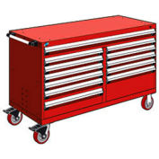 """Rousseau Metal 12 Drawer Mobile Multi-Drawer Cabinet - 60""""Wx27""""Dx37-1/2""""H Red"""