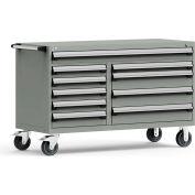 "Rousseau Metal 10 Drawer Mobile Multi-Drawer Cabinet - 60""Wx27""Dx37-1/2""H Light Gray"