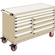 """Rousseau Metal 10 Drawer Mobile Multi-Drawer Cabinet - 60""""Wx27""""Dx37-1/2""""H Beige"""