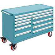 """Rousseau Metal 10 Drawer Mobile Multi-Drawer Cabinet - 60""""Wx27""""Dx37-1/2""""H Everest Blue"""