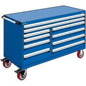 """Rousseau Metal 10 Drawer Mobile Multi-Drawer Cabinet - 60""""Wx27""""Dx37-1/2""""H Avalanche Blue"""
