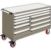 "Rousseau Metal 10 Drawer Mobile Multi-Drawer Cabinet - 60""Wx27""Dx37-1/2""H Light Gray"