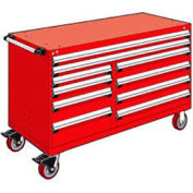 """Rousseau Metal 10 Drawer Mobile Multi-Drawer Cabinet - 60""""Wx27""""Dx37-1/2""""H Red"""
