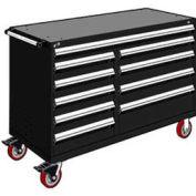 "Rousseau Metal 10 Drawer Mobile Multi-Drawer Cabinet - 60""Wx27""Dx41-1/2""H Black"