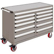 "Rousseau Metal 11 Drawer Mobile Multi-Drawer Cabinet - 60""Wx27""Dx41-1/2""H Light Gray"