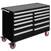 "Rousseau Metal 11 Drawer Mobile Multi-Drawer Cabinet - 60""Wx27""Dx41-1/2""H Black"