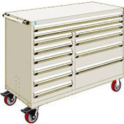 """Rousseau Metal 12 Drawer Mobile Multi-Drawer Cabinet - 60""""Wx27""""Dx45-1/2""""H Beige"""