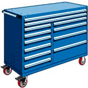 """Rousseau Metal 12 Drawer Mobile Multi-Drawer Cabinet - 60""""Wx27""""Dx45-1/2""""H Avalanche Blue"""