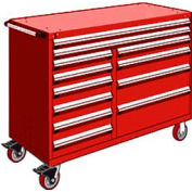 """Rousseau Metal 12 Drawer Mobile Multi-Drawer Cabinet - 60""""Wx27""""Dx45-1/2""""H Red"""