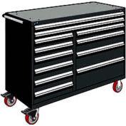 "Rousseau Metal 12 Drawer Mobile Multi-Drawer Cabinet - 60""Wx27""Dx45-1/2""H Black"
