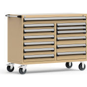 """Rousseau Metal 13 Drawer Mobile Multi-Drawer Cabinet - 60""""Wx27""""Dx45-1/2""""H Beige"""