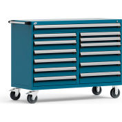 """Rousseau Metal 13 Drawer Mobile Multi-Drawer Cabinet - 60""""Wx27""""Dx45-1/2""""H Everest Blue"""