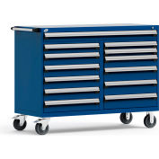 """Rousseau Metal 13 Drawer Mobile Multi-Drawer Cabinet - 60""""Wx27""""Dx45-1/2""""H Avalanche Blue"""