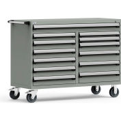 "Rousseau Metal 13 Drawer Mobile Multi-Drawer Cabinet - 60""Wx27""Dx45-1/2""H Light Gray"