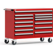 """Rousseau Metal 13 Drawer Mobile Multi-Drawer Cabinet - 60""""Wx27""""Dx45-1/2""""H Red"""