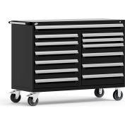 "Rousseau Metal 13 Drawer Mobile Multi-Drawer Cabinet - 60""Wx27""Dx45-1/2""H Black"