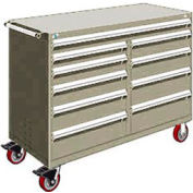 "Rousseau Metal 10 Drawer Mobile Multi-Drawer Cabinet - 60""Wx27""Dx45-1/2""H Light Gray"