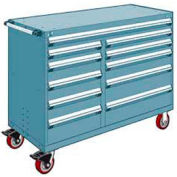 """Rousseau Metal 11 Drawer Mobile Multi-Drawer Cabinet - 60""""Wx27""""Dx45-1/2""""H Everest Blue"""