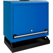 Rousseau Wall-Mounted Cabinet With Solid Flipper Door And Keyboard & Mouse Support, Avalanche Blue