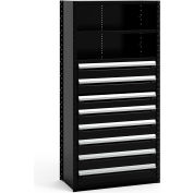 "Steel Shelving 36""Wx18""Dx75""H Closed 4 Shelf 8 Drawer Black"