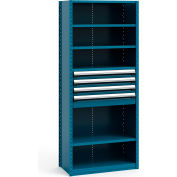 "Steel Shelving 36""Wx18""Dx87""H Closed 6 Shelf 4 Drawer Everest Blue"
