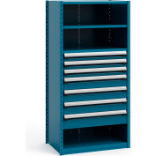 "Steel Shelving 36""Wx24""Dx75""H Closed 5 Shelf 7 Drawer Everest Blue"