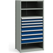 "Steel Shelving 36""Wx24""Dx75""H Closed 5 Shelf 7 Drawer Gray With Blue Drawers"