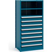 "Steel Shelving 36""Wx24""Dx75""H Closed 4 Shelf 8 Drawer Everest Blue"