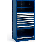 "Steel Shelving 36""Wx24""Dx75""H Closed 4 Shelf 7 Drawer Avalanche Blue"