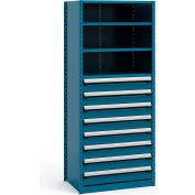 "Steel Shelving 36""Wx24""Dx87""H Closed 5 Shelf 8 Drawer Everest Blue"