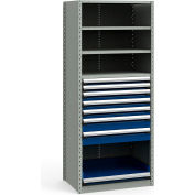 "Steel Shelving 36""Wx24""Dx87""H Closed 5 Shelf 7 Drawer Gray With Blue Drawers"