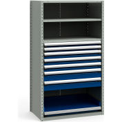 "Steel Shelving 42""Wx24""Dx75""H Closed 4 Shelf 7 Drawer Gray With Blue Drawers"