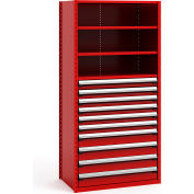 "Steel Shelving 42""Wx24""Dx87""H Closed 5 Shelf 10 Drawer Red"