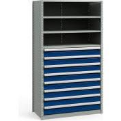 "Steel Shelving 48""Wx24""Dx87""H Closed 5 Shelf 8 Drawer Gray With Blue Drawers"