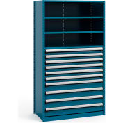 "Steel Shelving 48""Wx24""Dx87""H Closed 5 Shelf 10 Drawer Everest Blue"