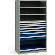 "Steel Shelving 48""Wx24""Dx87""H Closed 5 Shelf 7 Drawer Gray With Blue Drawers"