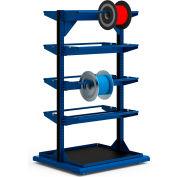 """Stationary Reel Rack 32""""W x 27""""D x 55""""H Bottom Shelf 8 Storage Rods Avalanche Blue"""