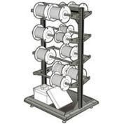 """Stationary Reel Rack 32""""W x 27""""D x 55""""H Bottom Shelf 8 Storage Rods Light Gray"""
