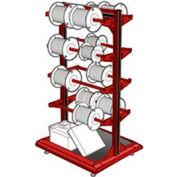 """Stationary Reel Rack 32""""W x 27""""D x 55""""H Bottom Shelf 8 Storage Rods Red"""