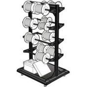 """Stationary Reel Rack 32""""W x 27""""D x 55""""H Bottom Shelf 8 Storage Rods Black"""