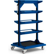 "Mobile Reel Rack 32""W x 27""D x 59-1/4""H Bottom Shelf 8 Storage Rods Avalanche Blue"