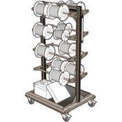 "Mobile Reel Rack 32""W x 27""D x 59-1/4""H Bottom Shelf 8 Storage Rods Light Gray"