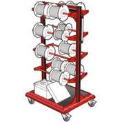 """Mobile Reel Rack 32""""W x 27""""D x 59-1/4""""H Bottom Shelf 8 Storage Rods Red"""