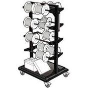 "Mobile Reel Rack 32""W x 27""D x 59-1/4""H Bottom Shelf 8 Storage Rods Black"